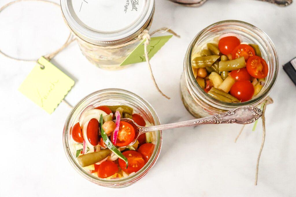 4 Bean Salad Jar Lunch top view